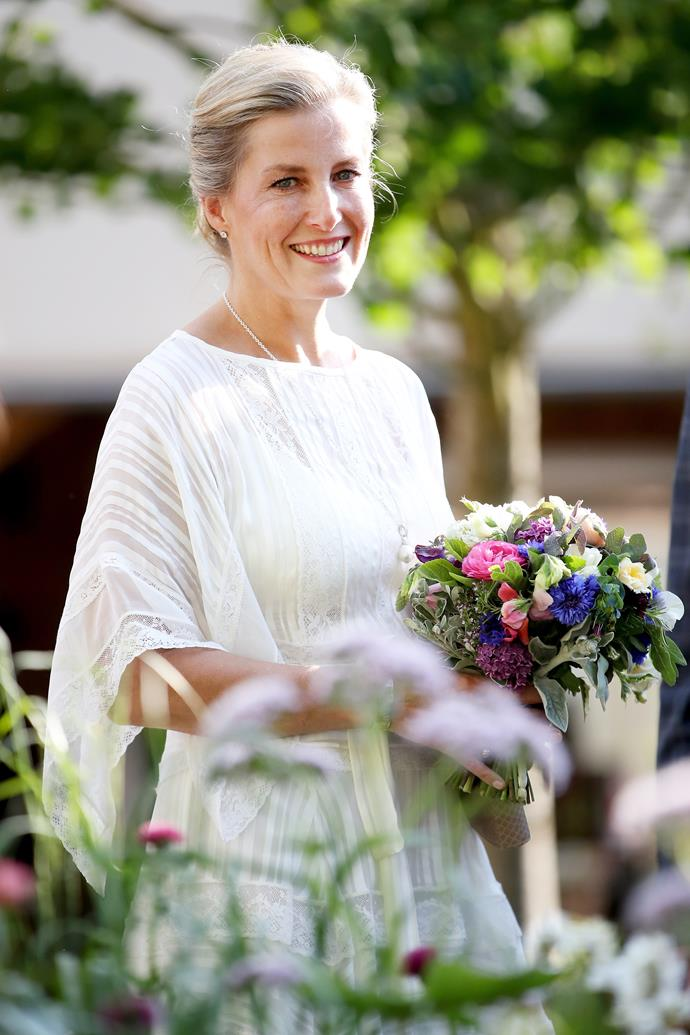 "Long before [Duchess Catherine's Back to Nature garden](https://www.nowtolove.com.au/royals/british-royal-family/kate-middleton-gardening-photo-64010|target=""_blank""), it was Sophie who was a prominent regular at the Chelsea Flower show. She's pictured here looking radiant at the event in 2018."