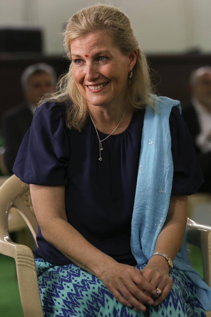 The Countess is very well travelled to boot. She did a whirlwind tour of India in early 2019 - here, she's pictured visiting a school in the South Asian country.