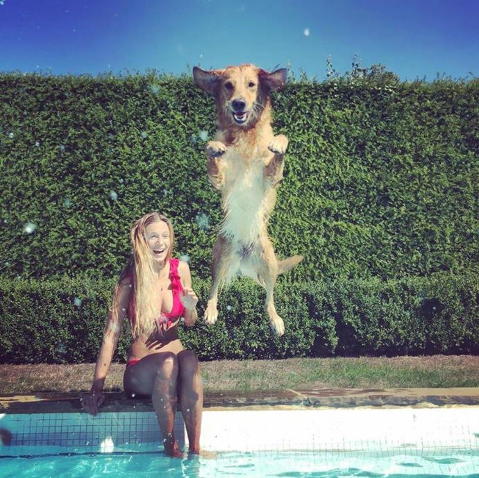 "James shared this sweet candid snap of his girlfriend and pup in the British summer of 2019, writing: ""Caption this 🐾 #goldenretriever #summervibes #dogsofinstagram #happydog""."