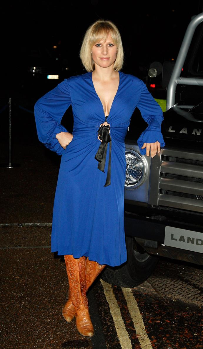 Clearly she's a fan of the western boot. In 2007, Zara attended an evening soiree wearing a wrap dress and her trusty cowgirl wheels.