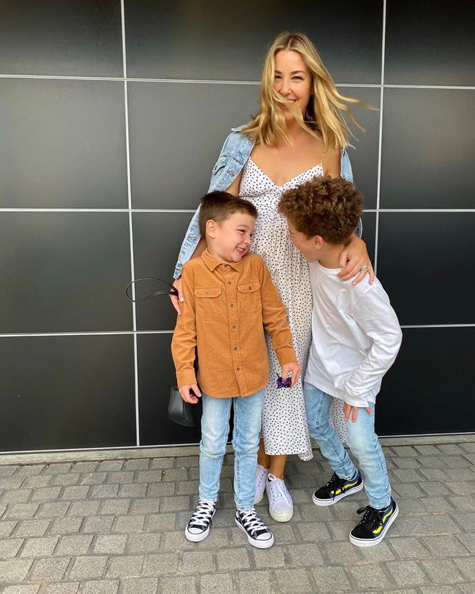 Jules and her boys on her way to a concert.