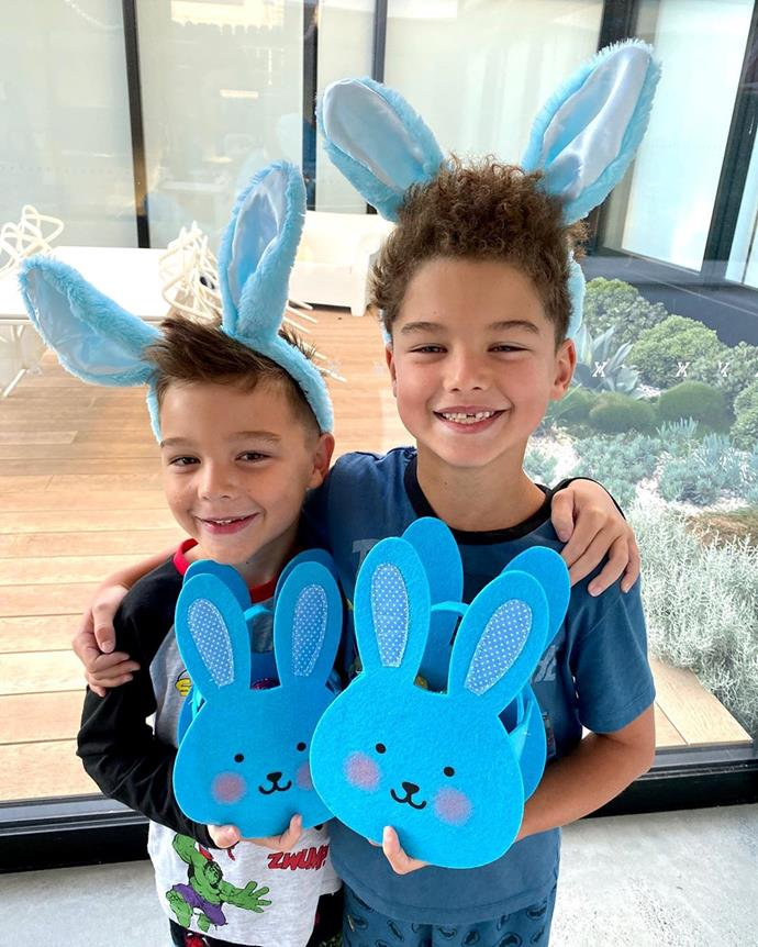 Celebrating the arrival of the Easter bunny this year with matching bunny ears and baskets to collect their delicious treats!