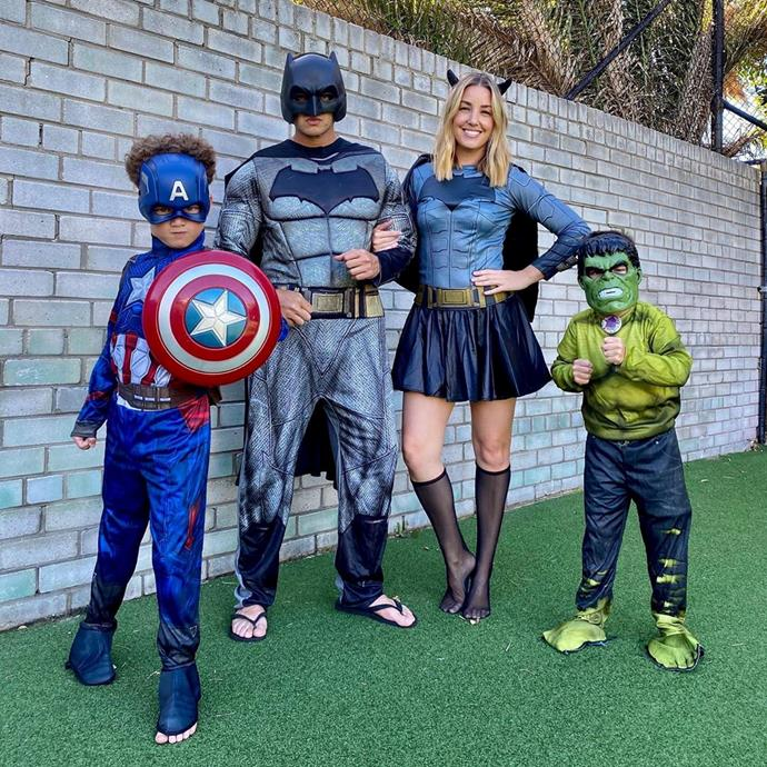 """The whole family dressed up for a superhero-themed birthday for Archie's sixth birthday in lockdown. """"It was our mission in lieu of his planned party to make it a day to remember,"""" Jules wrote on Instagram."""