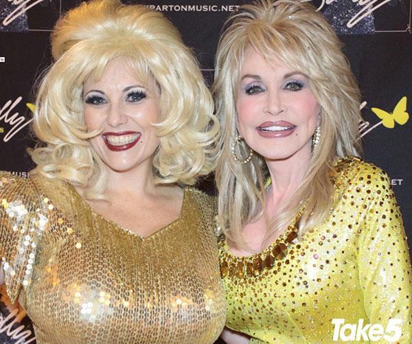 Kelly (left) as Dolly, pictured with the real lady herself!