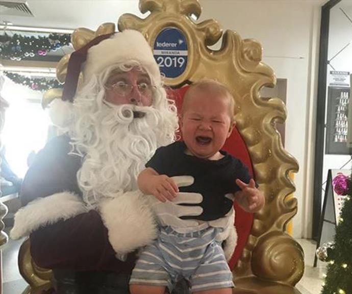 Colton's not a fan of Santa just yet.