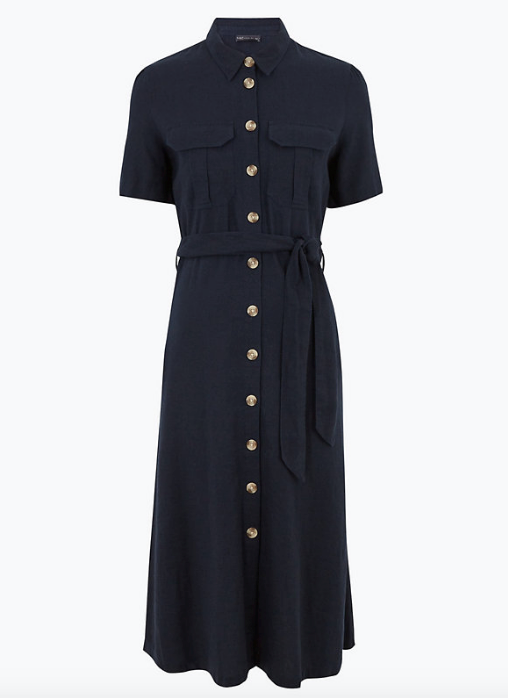 """Midnight blue is the new black, in our eyes - particularly after clapping eyes on this Marks & Spencer style. $85, [buy it online here](https://www.marksandspencer.com/au/linen-midi-waisted-shirt-dress/p/P60444770.html