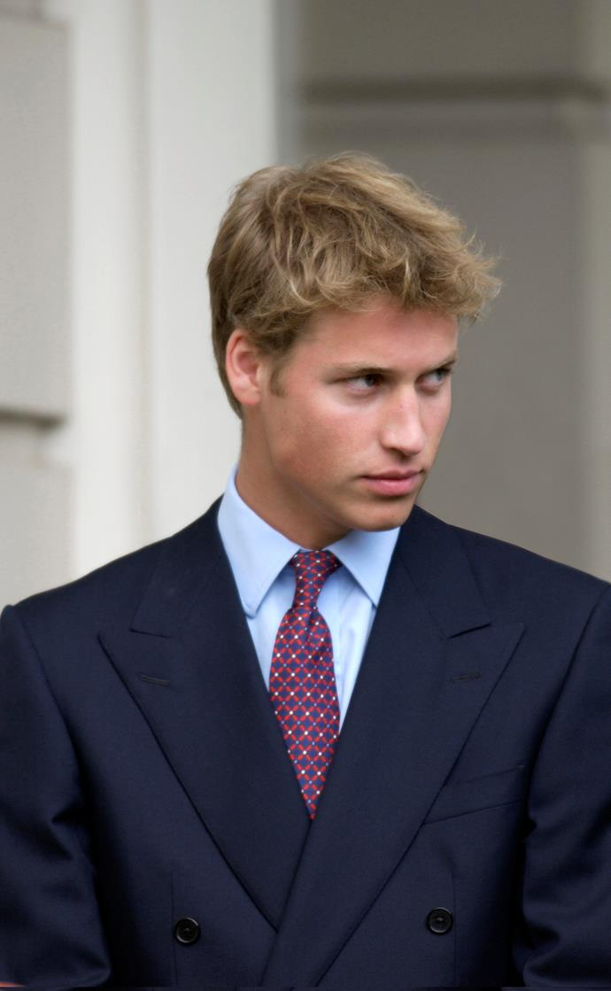 After spending a gap year abroad following his high school graduation, William jumped straight back into royal life. He's pictured here in 2001 wearing a particularly sharp double-breasted suit at his great-grandmother's 101st birthday celebrations at Clarence House in London.