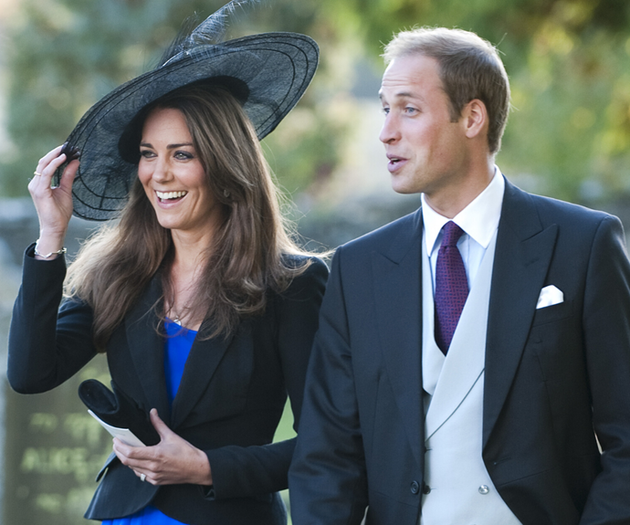 In 2010, the couple were all smiles (with Wills looking particularly handsome in this three-piece suit) as they arrived at their friend Harry Meade's wedding to Rosie Bradford.