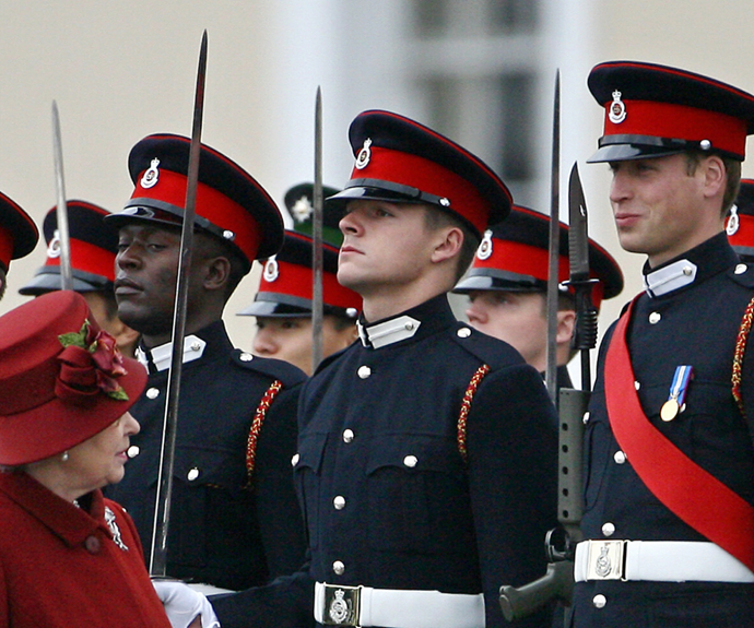 William cracked a sly smile as his grandmother Queen Elizabeth greeted troops at a military parade in 2006.