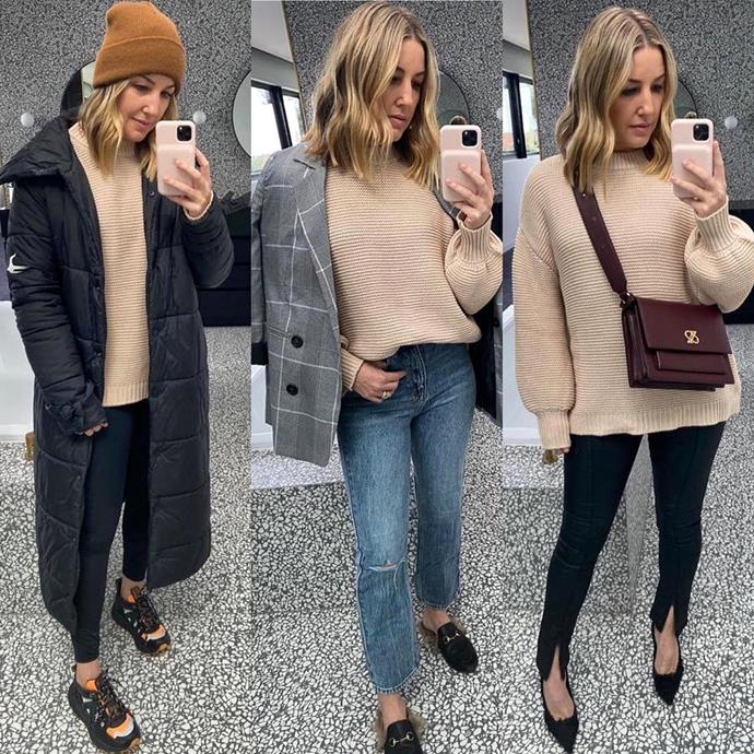 Jules showed her followers how she styled one item - this neutral camel-coloured jumper - three ways. Once for the school run, once for the office and another for date night.