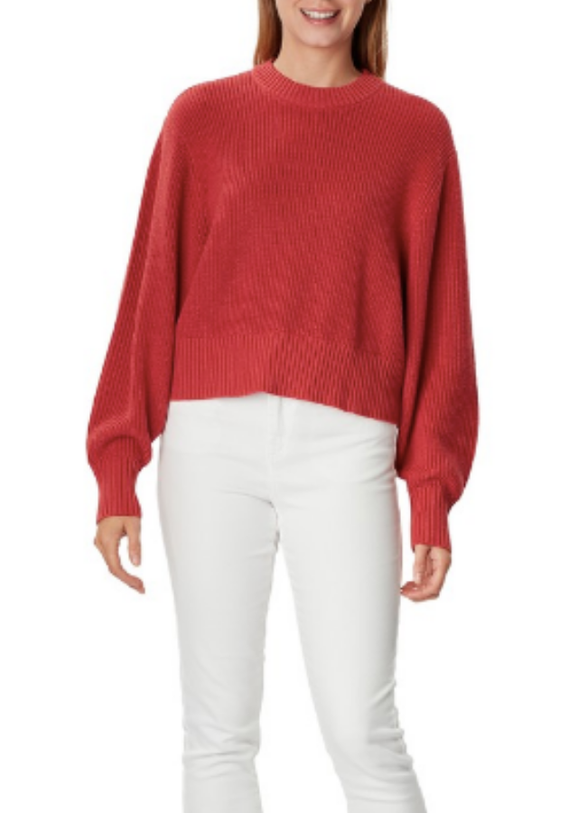 """This is the red version of Jules's &me Women's Volume Jumper, $20 from Big W. [Buy it online here](https://www.bigw.com.au/product/me-women-s-volume-jumper-garnet-rose/p/1191679-rose/