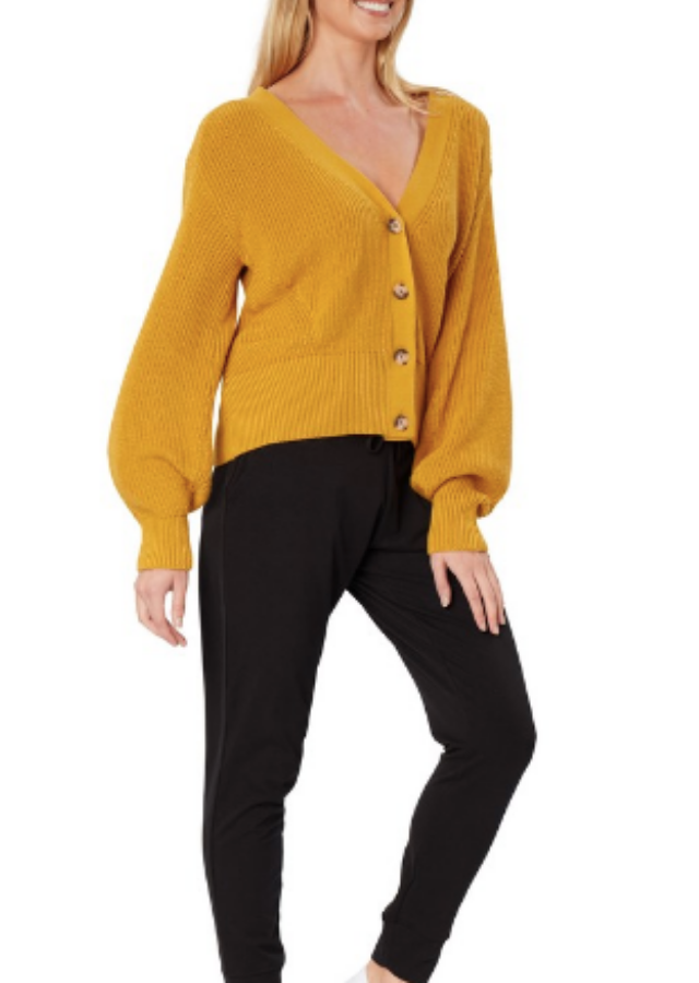 "This is the &me Women's Ribbed Cardigan, $25 from Big W. [Buy it online here](https://www.bigw.com.au/product/me-women-s-ribbed-button-front-cardigan-gold/p/1222436-gold/|target=""_blank""