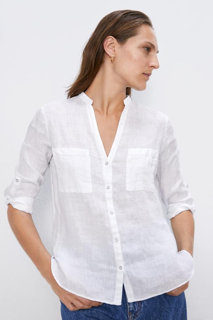 "Zara linen shirt with pockets, $55.95 from Zara. [Buy it online here](https://www.zara.com/au/en/linen-shirt-with-pockets-p07215027.html?v1=38370335&v2=1010039|target=""_blank""