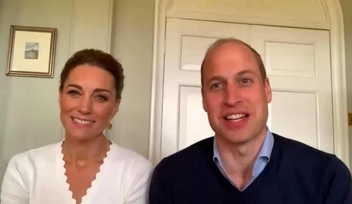 "In celebration of one year since they [launched mental health text service Give Us A Shout](https://www.nowtolove.com.au/fashion/fashion-news/kate-middleton-earrings-64050|target=""_blank""), Kate and Wills shared a sweet video call with volunteers involved in the charity. Her scallop neck Sandro pullover was the perfect chic addition."