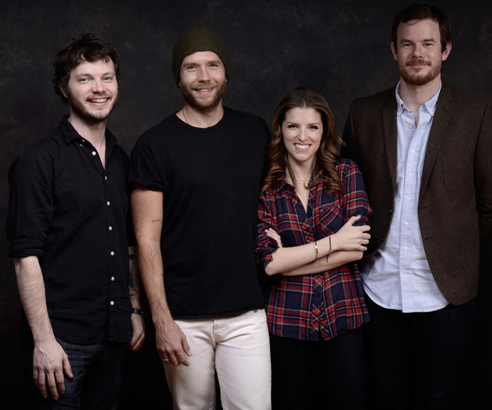 (L-R) Ben Richardson, actor Mark Webber, Anna Kendrick and director Joe Swanberg at the 2014 Sundance Film Festival to promote their movie *Happy Christmas*.