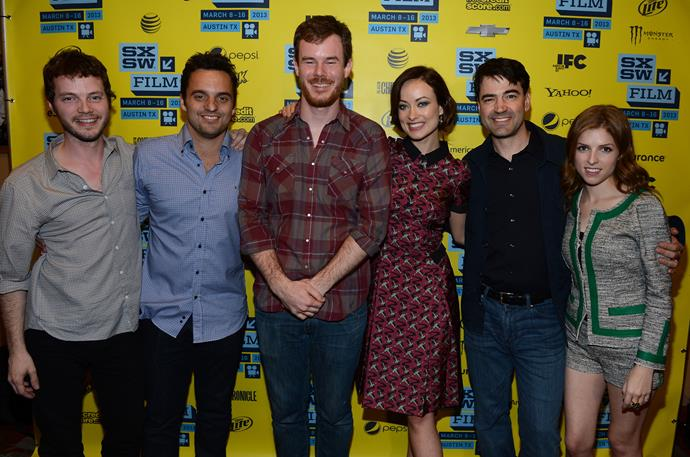 (L-R) Ben Richardson, actor Jake Johnson, director Ben Swanberg, actress Olivia Wilde, actor Ron Livingston and Anna Kendrick at the premiere of *Drinking Buddies* in 2013.