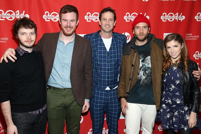 (L-R) Ben Richardson, director Joe Swanberg, Trevor Groth, actor Mark Webber and Anna Kendrick at the *Happy Christmas* premiere in 2014.