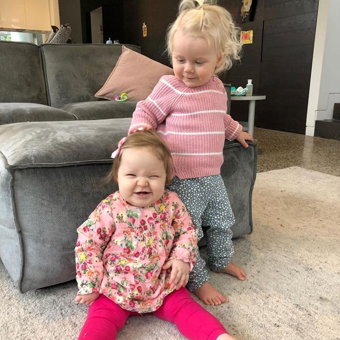 How cute are their matching pink outfits?