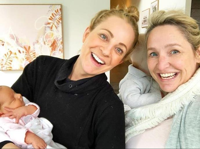 Carrie and Fifi pictured back when their youngest girls were just newborn babies.