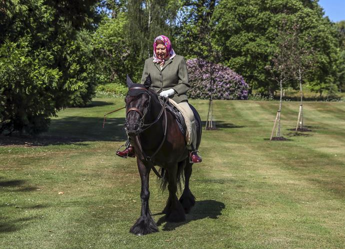 Her majesty has ridden horses all her life - and was pictured riding her beloved horse Fern over the weekend.