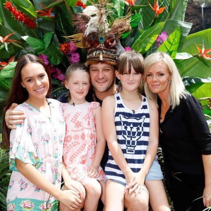 Brendan pictured with wife Alex (right) and daughters (L-R) Mia, Lulu and Leni after winning *I'm A Celebrity ... Get Me Out Of Here!* in 2018.