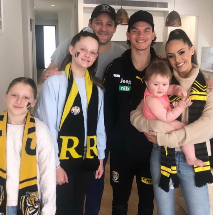 The whole gang together, along with Mia's AFL star ex-boyfriend Daniel Rioli, pictured before they split in February this year.
