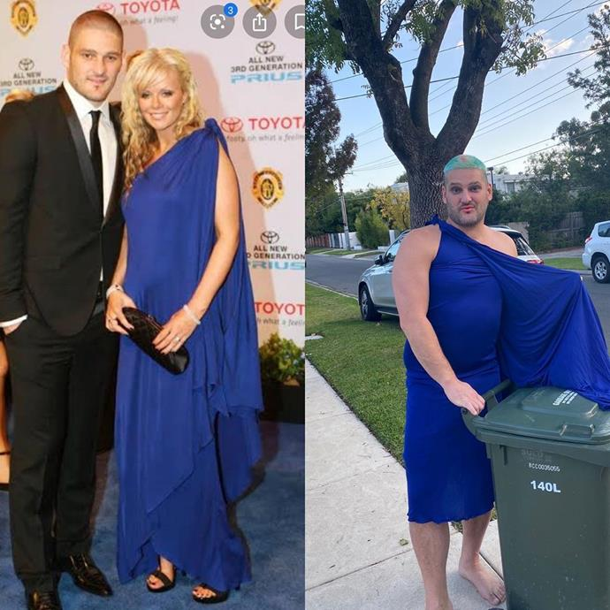 Now *this* is a before and after! Fev squeezed his rig into Alex's black tie gown just to take out the bins. It's a sight you cannot unsee!