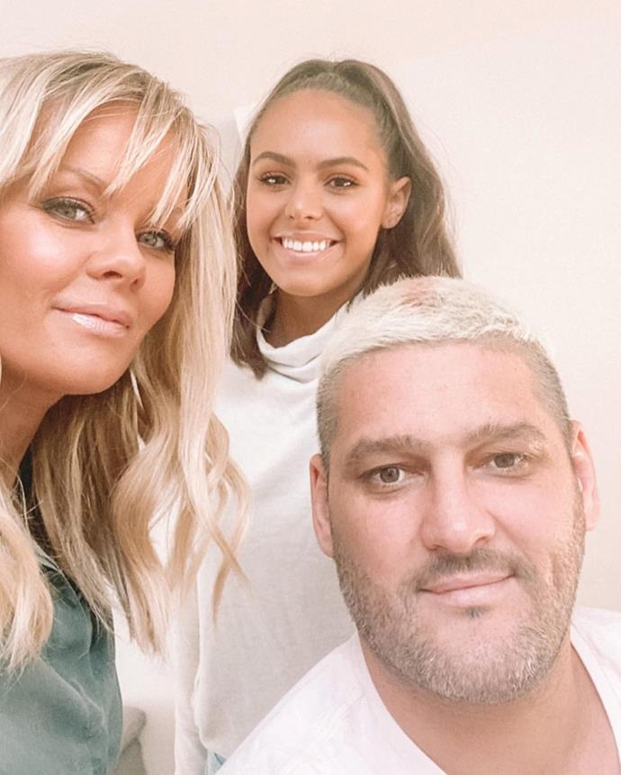 "After bleaching his hair while in isolation, Fev captioned this hilarious selfie of himself, Alex and Mia: ""When I'm looking the hottest. Hanging with my girls."""
