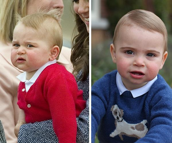 As for Prince William and Duchess Catherine's youngest son Prince Louis (R), royal watchers reckon he's already taking after his big brother George thanks to those chubby cheeks and mischievous grin (L).