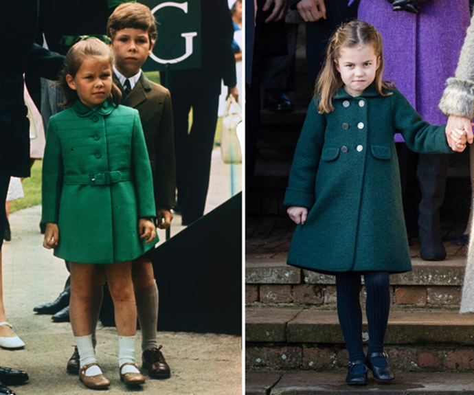 Girls in green: Lady Sarah Chatto and Princess Charlotte really could be mistaken for twins.