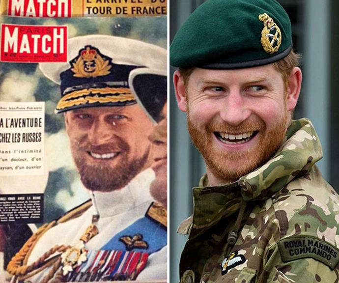 "Granddad's double: A [vintage cover Paris Match in 1957](https://www.nowtolove.com.au/royals/british-royal-family/prince-harry-and-prince-philip-are-royal-twins-2902|target=""_blank"") featuring a bearded Prince Philip during his navy days bears an uncanny resemblance to Prince Harry."