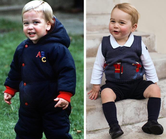 "All hail Prince William 2.0! A baby Prince William (L) [reminds us so much of a baby Prince George](https://www.nowtolove.com.au/royals/british-royal-family/prince-george-looks-like-prince-william-and-family-39043|target=""_blank""), pictured on the steps of Kensington Palace in December 2014."