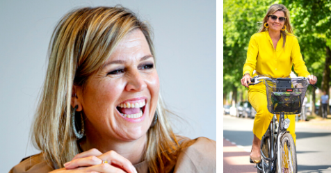 Queen Máxima of the Netherlands looks like literal sunshine as she rides her bike to an official royal event without her entourage