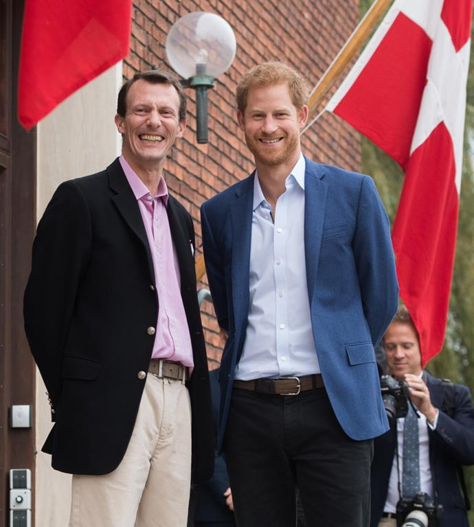 Friends in high places! Royal worlds collided when Prince Harry paid a visit to Joachim in Copenhagen in 2017.