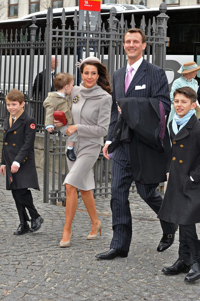 At the christening of Frederik and Mary's twins in 2011 in Copenhagen, Joachim and Marie were right there with them to celebrate.