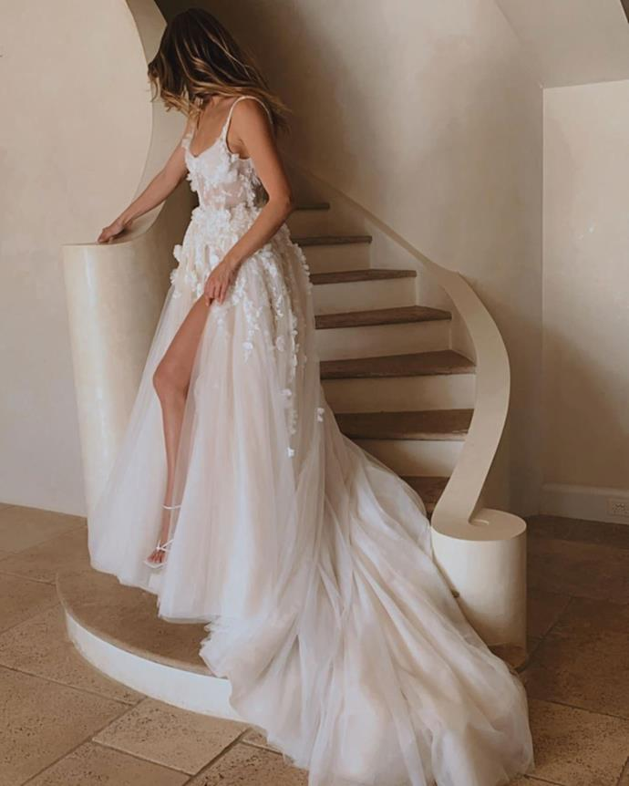 Emma has recently posted several wedding dress pictures on social media.