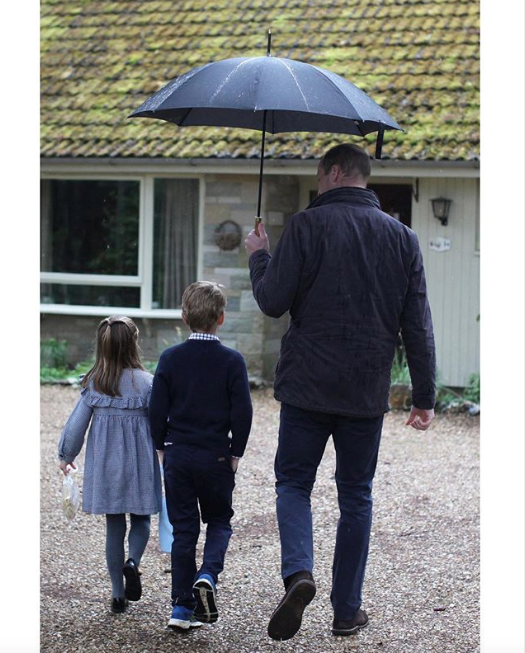 The Palace released this sweet image of the Prince with two of of three of his young children,