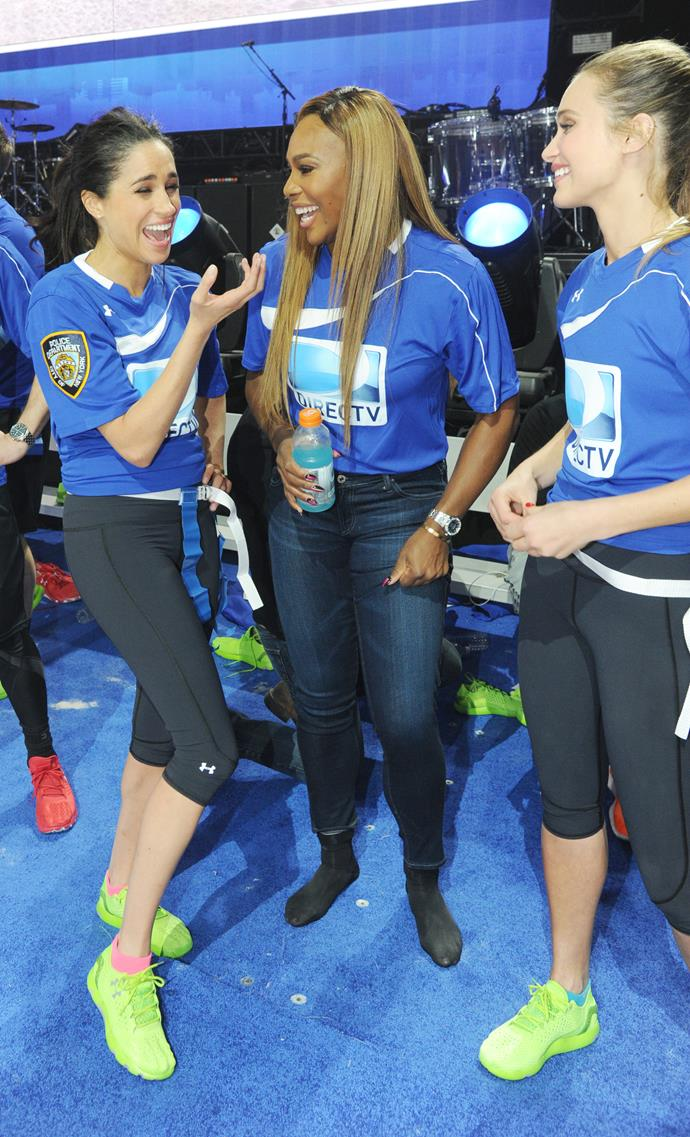 **SERENA WILLIAMS** <br><br> The tennis champion is one of Meghan's oldest celebrity friends. The pair met at a Super Bowl party in 2010 and immediately hit it off.  <br><br> Since then, Meghan has frequently been spotted sitting courtside at Serena's tennis matches, regularly flying across the world to support her friend. Serena was also a guest at Meghan's wedding to Prince Harry in 2018, alongside her husband Alexis Ohanian.