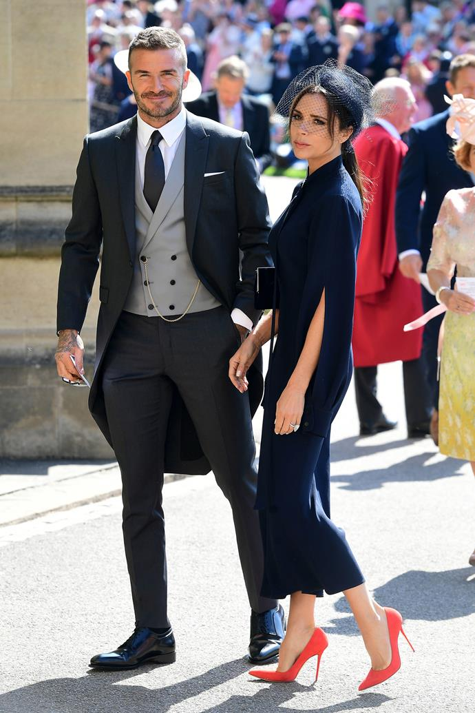 **DAVID AND VICTORIA BECKHAM** <br><br> The Beckhams have long been family friends with several members of the British royal family, including Meghan and Harry. They attending both their wedding in 2018, as well as Kate Middleton and Prince William's nuptials in 2011.