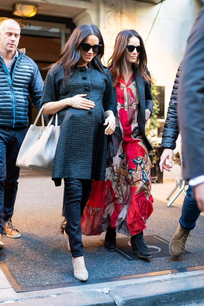 **ABIGAIL SPENCER** <br><br> Abigail, who is also pictured above with Priyanka, starred alongside Meghan in *Suits*.  <br><br> She has been by the Duchess's side ever since, attending her royal wedding, her baby shower in New York (pictured) and even visited Meghan, Harry and Archie when they moved briefly to Canada in 2019.