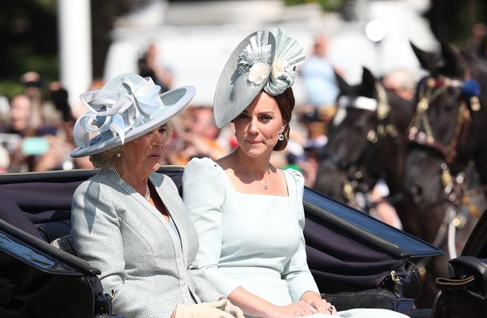In 2018, Catherine and Camilla opted for muted ice blue tones for the spectacle. Once again, Kate's designer of choice was Alexander McQueen - a fashion hack worth noting!