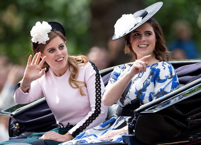 Eugenie and Beatrice did nothing to quell the notion to claim that Trooping the Colour is a right royal fashion spectacle. Beatrice's pale pink dress with black detailing was subtle, yet sweet, while Eugenie's printed blue frock was an undeniable eye-catcher.