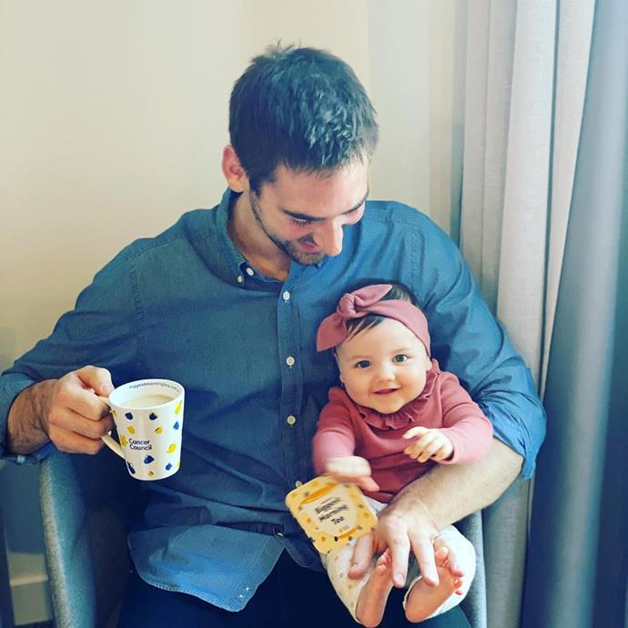 Cuddles and tea with Dad - what could be better?