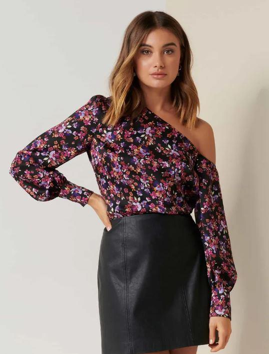 """And at $89.99, it's won't break the bank! [Buy it online here](https://www.forevernew.com.au/lana-satin-tipped-shoulder-top-260170?colour=violet-trailing-ditsy