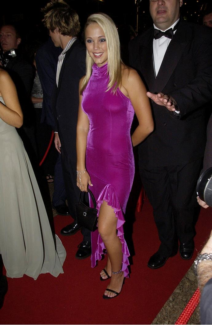 Fresh faced Bec Hewitt (then, Bec Cartwright) set 2002's red carpet on fire in this pink frock that deserves its very own legacy.