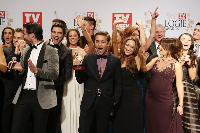 There's a reason why people can't get enough of this lot - the cast celebrate their big win in 2014.