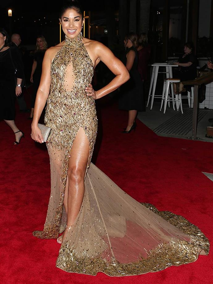 That same year, Sarah Roberts also looked the part of a Gold Logie herself, wearing this heavenly golden creation.