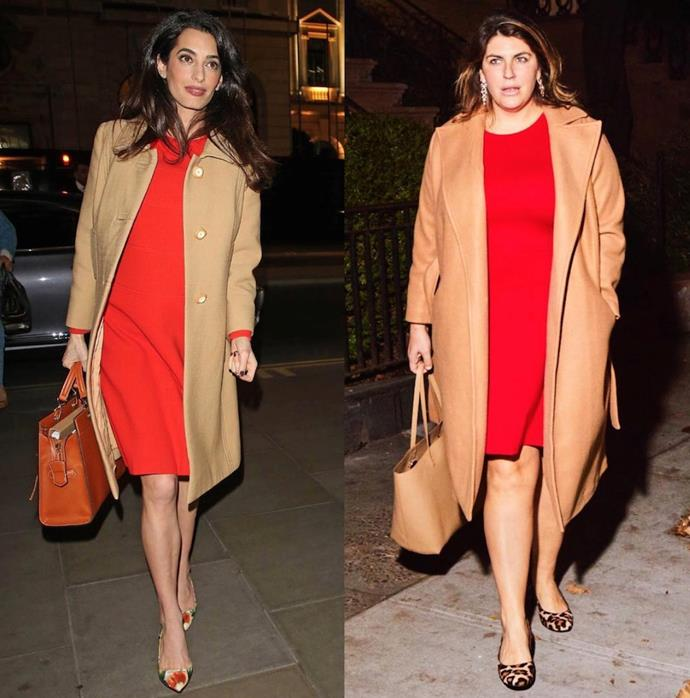 Katie recreating one of Amal Clooney's chicest looks.