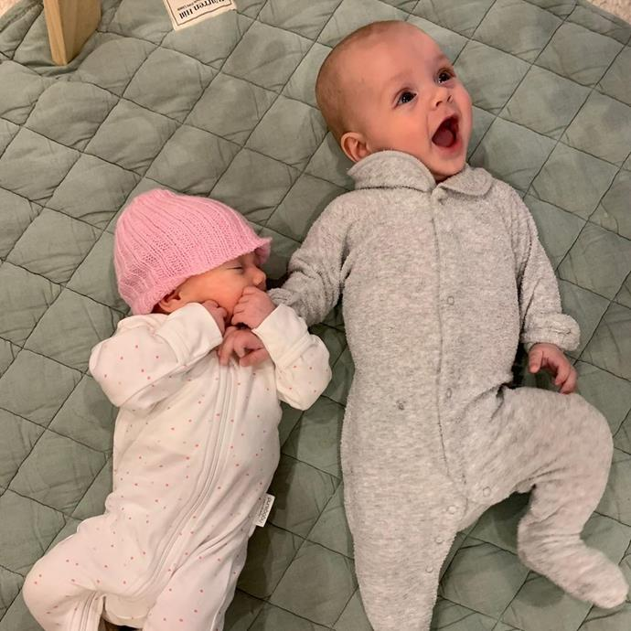 """Jasmine posted this adorable photo of baby Harper having a playdate with her [cousin Oscar](https://www.nowtolove.com.au/parenting/celebrity-families/sylvia-jeffreys-peter-stefanovic-baby-photos-62712