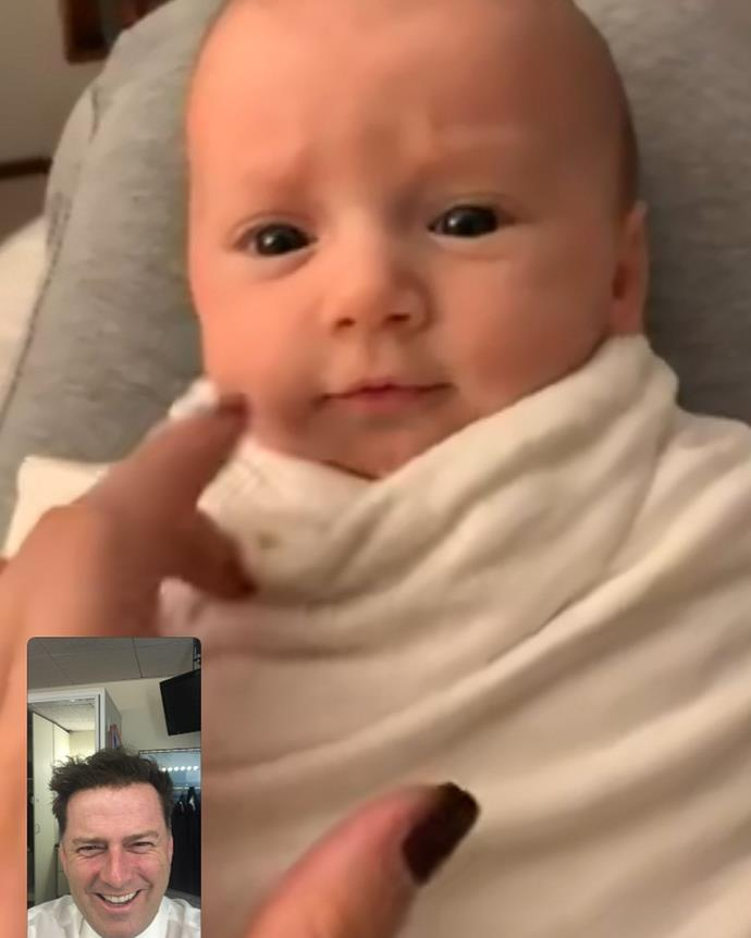 """Proud new father Karl shared this screenshot of himself and Harper on FaceTime, early in the morning. Karl was getting ready to go on air at the *Today Show* and Jasmine was giving Harper an early morning feed.  <br><br> """"5 am face time feeding call with this beauty. All you need is ❤️,"""" Karl captioned the sweet photo."""